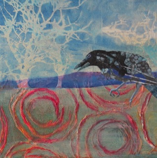 Crow in Landscape by Annie Nashold, Artist, Durham, North Carolina