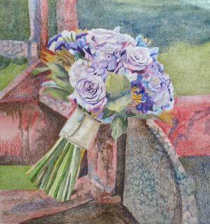 Jackie's Bouquet with Tractor by Annie Nashold, Artist, Durham, North Carolina