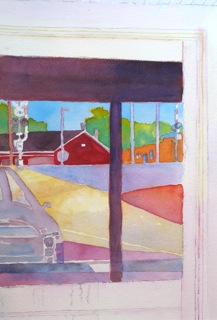 Reflection Series with Red Building by Annie Nashold, Artist, Durham, North Carolina