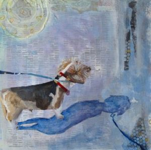 Roscoe Gazing, Mixed Media Painting by Annie Nashold, Durham NC artist